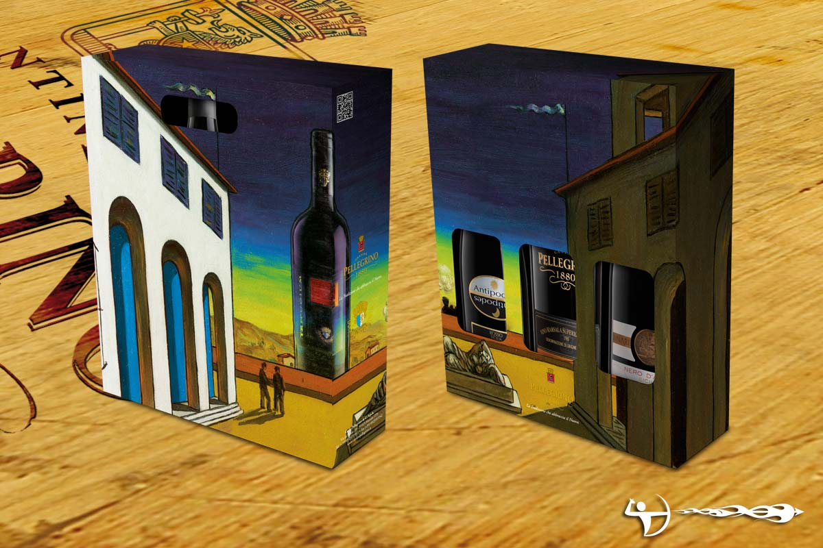 Cantine Pellegrino: Packaging, soggetto De Chirico