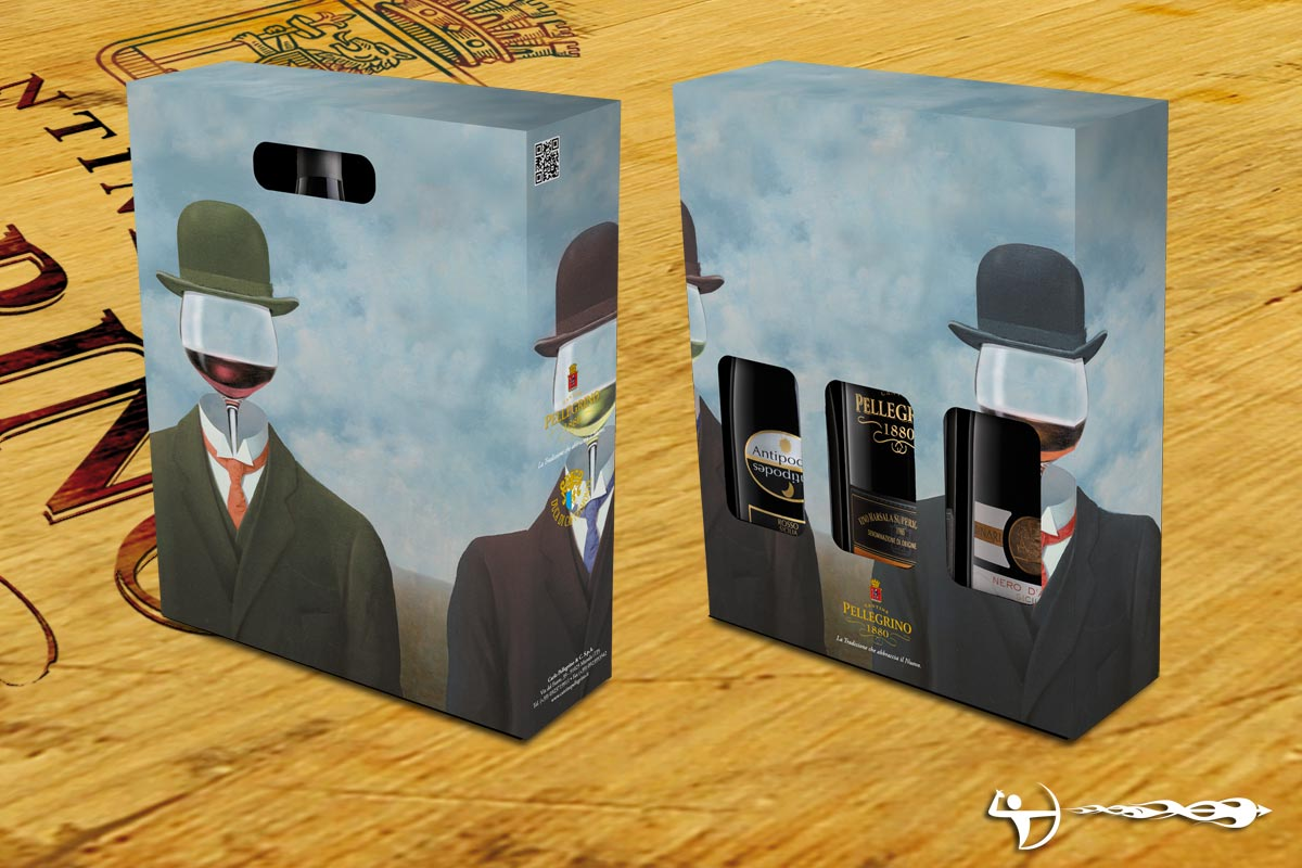 Cantine Pellegrino: Packaging, soggetto Magritte